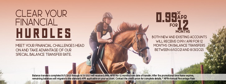 Horse galloping with text promoting new credit card information