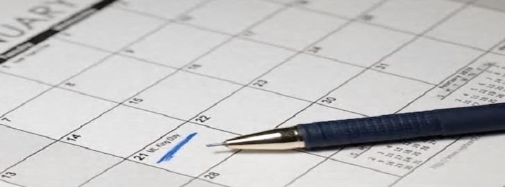 Blue Ink pen on calendar